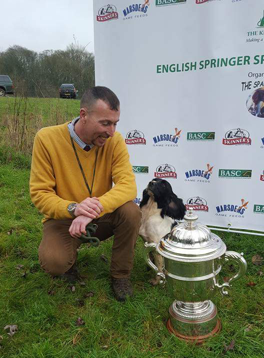Mr Louis Rice and FtCh Sliabh Treasuer. Winner of the English Springer Spaniel Championship 2016